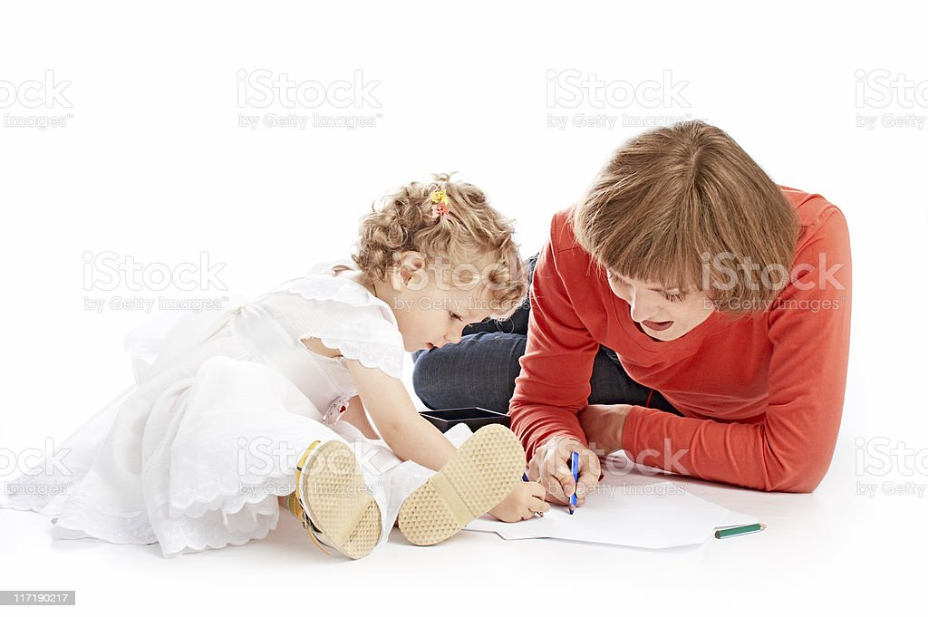 ma and daughter draw royalty-free stock photo