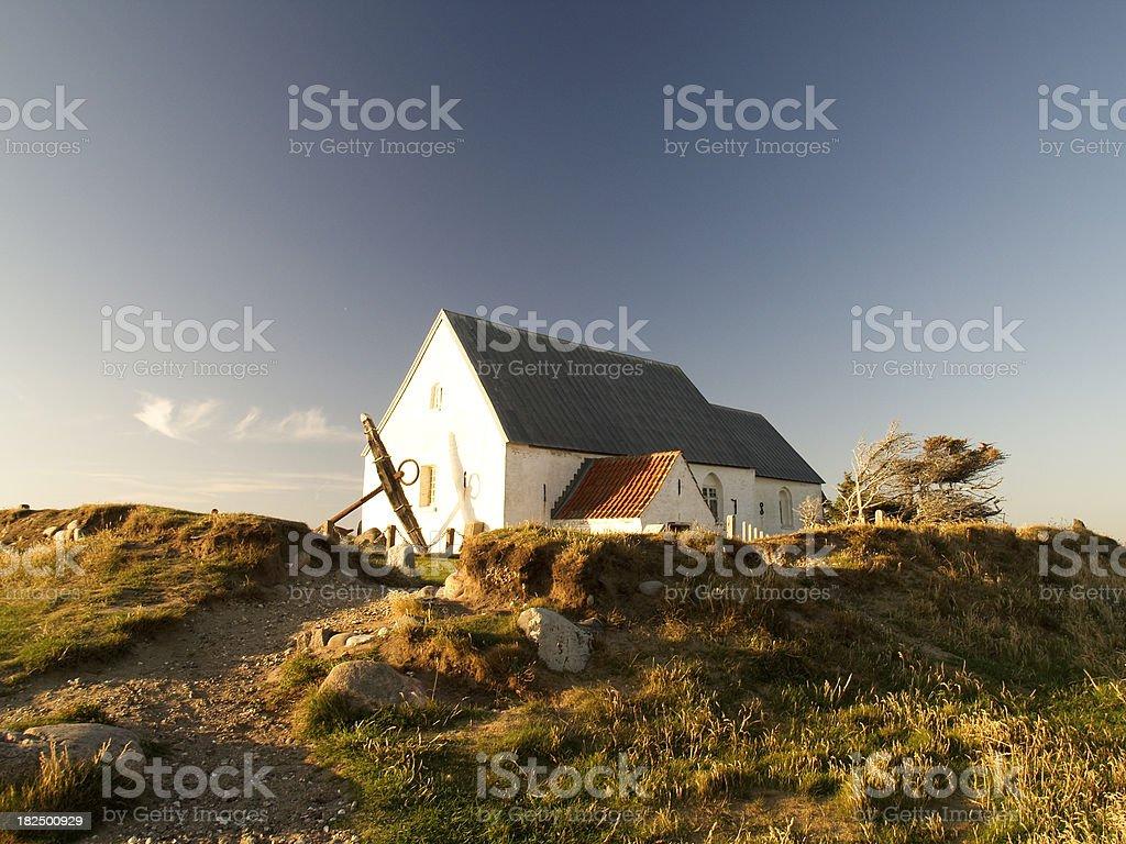 Maarup Church at sunset stock photo