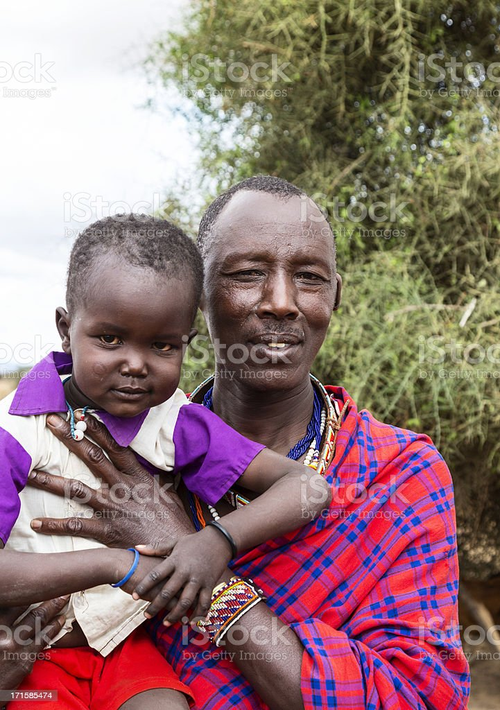 Maasai father and son stock photo