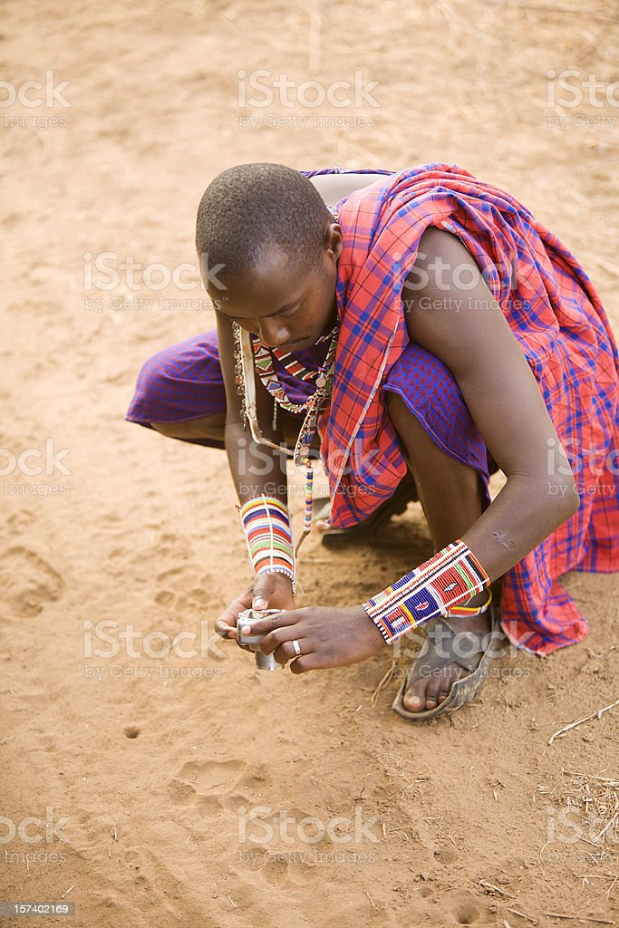 Maasai guide and lions footprint. royalty-free stock photo