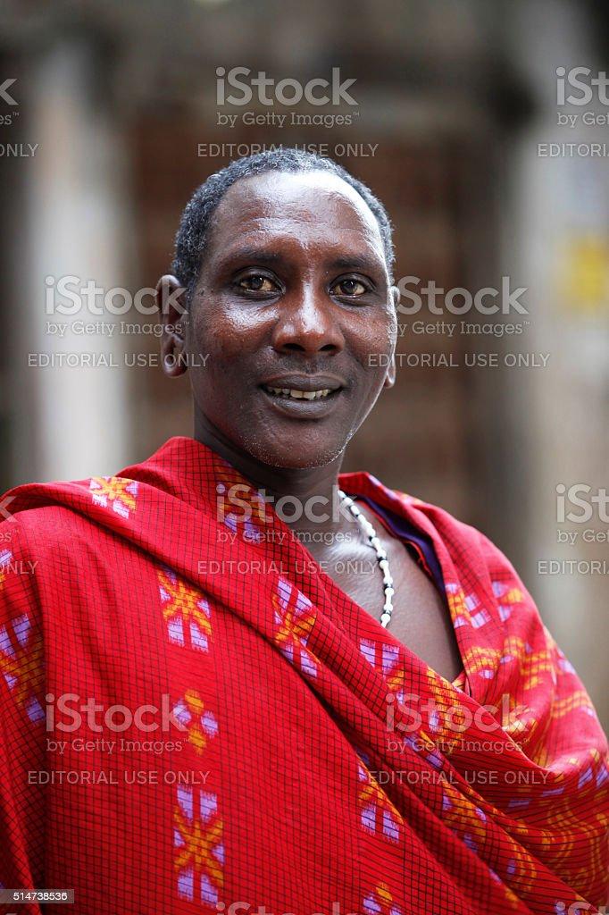 Maasai in Stoun Town stock photo