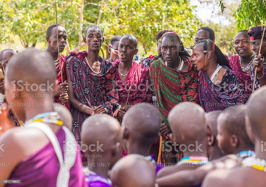 Maasai in Tanzania stock photo