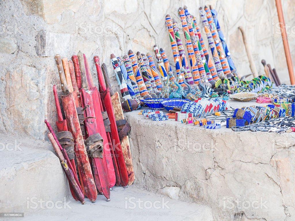 Maasai market stock photo