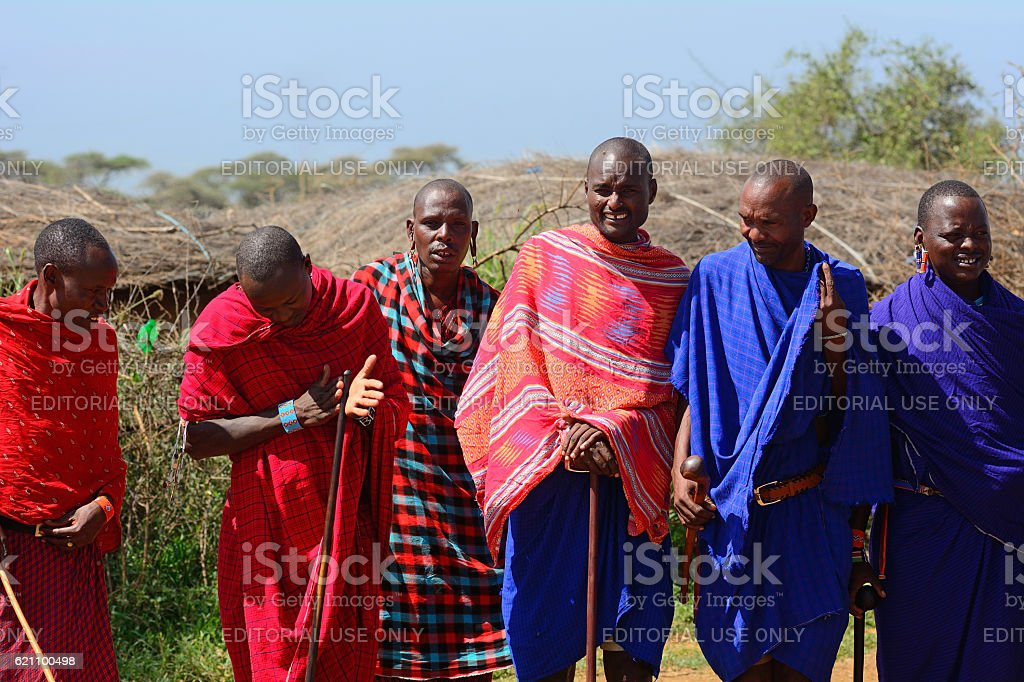 Maasai men, Kenya stock photo