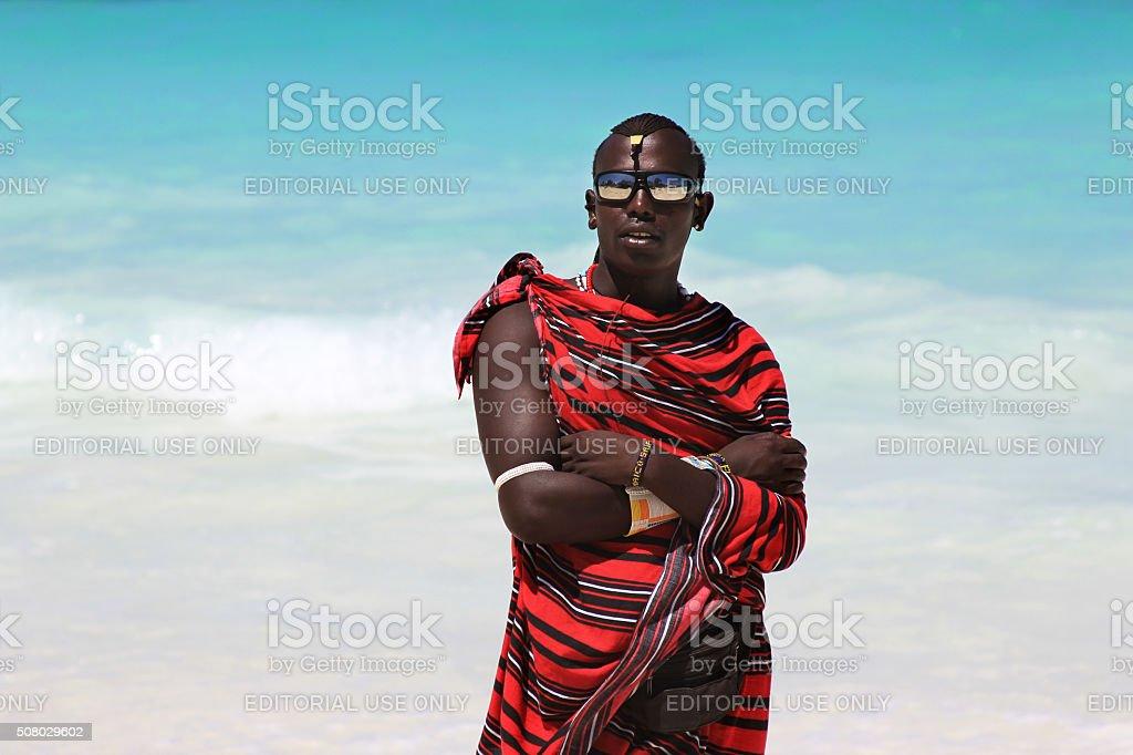 Maasai on the beach stock photo