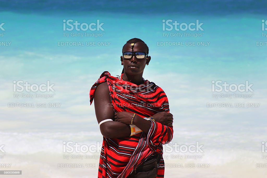 Maasai on the beach stock photo