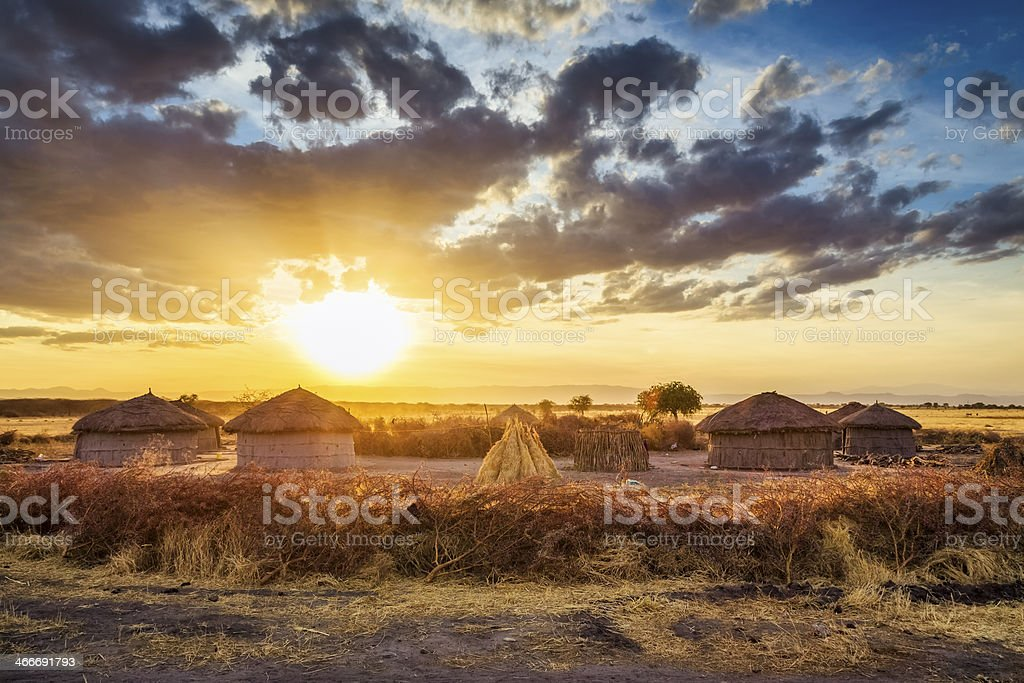 Maasai village by Sunset - Tarangire National Park stock photo