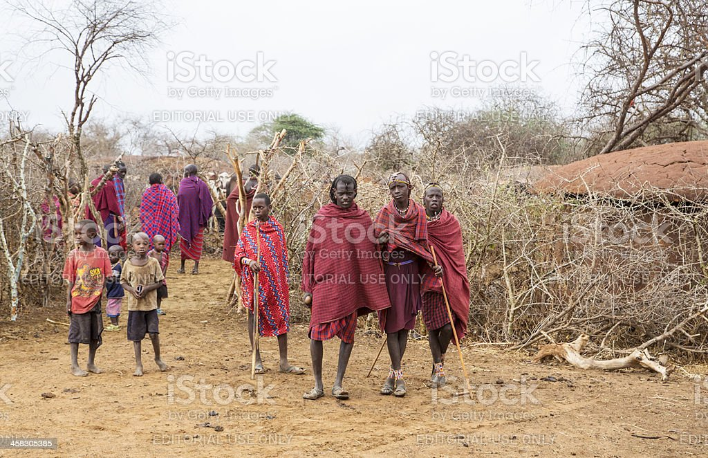 Maasai village with people. stock photo