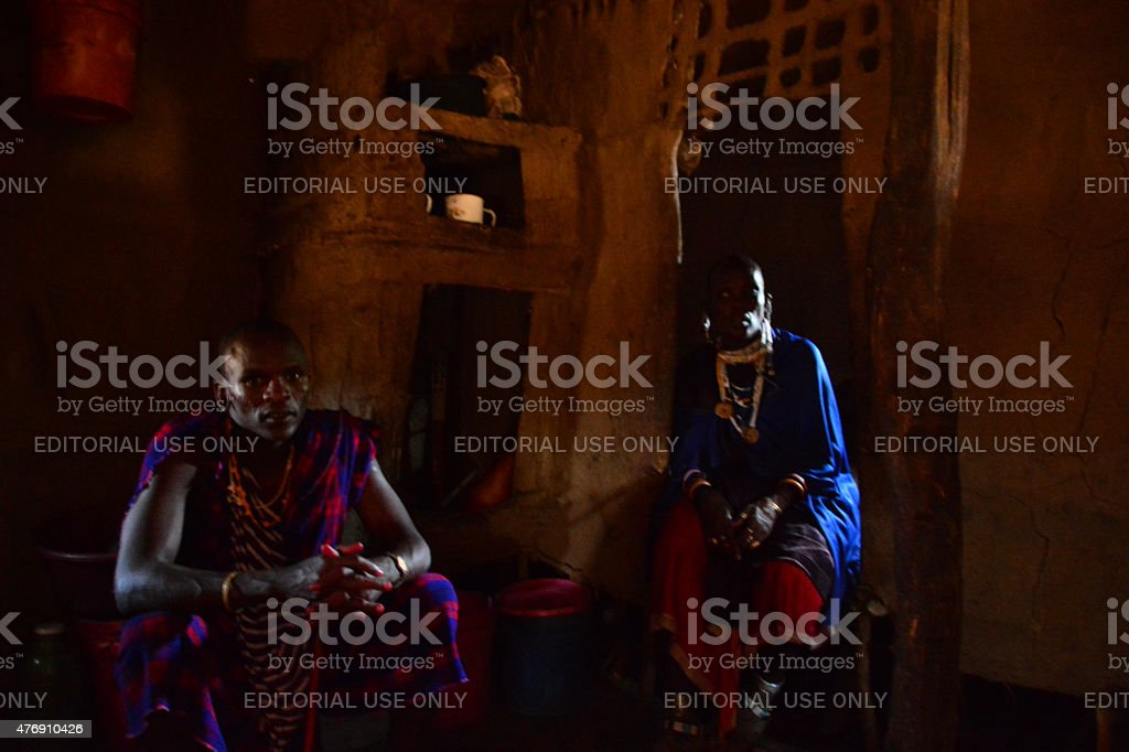Maasai warrior and his wife stock photo