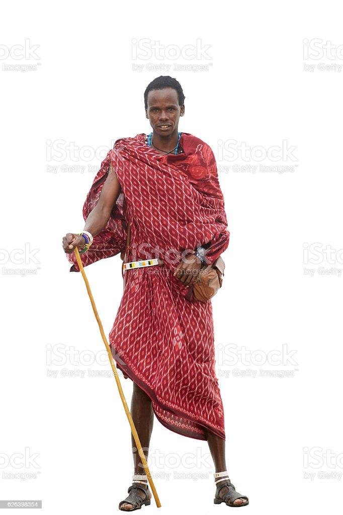Maasai warrior isolated on white stock photo