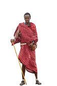 Maasai warrior isolated on white