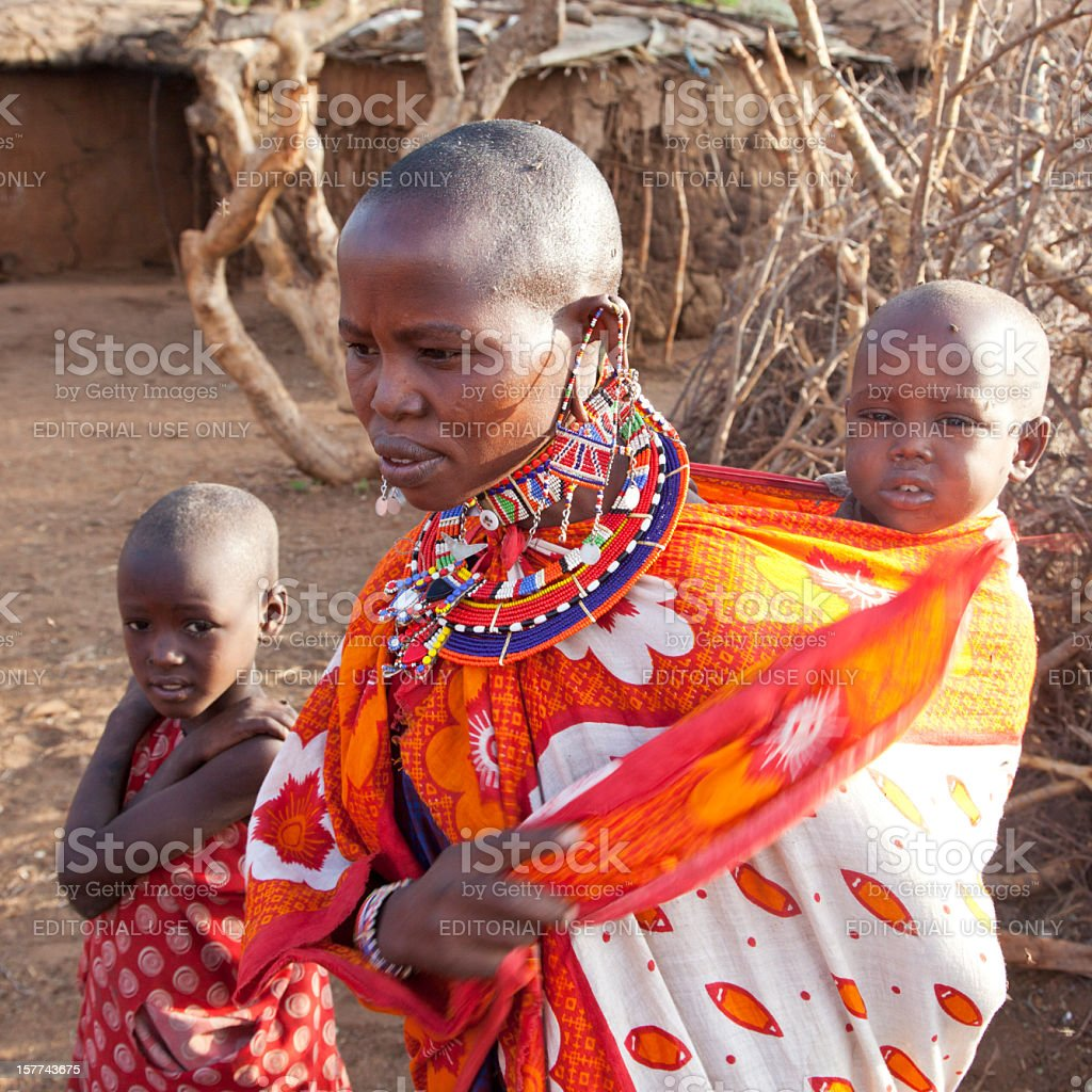 Maasai woman with two children stock photo