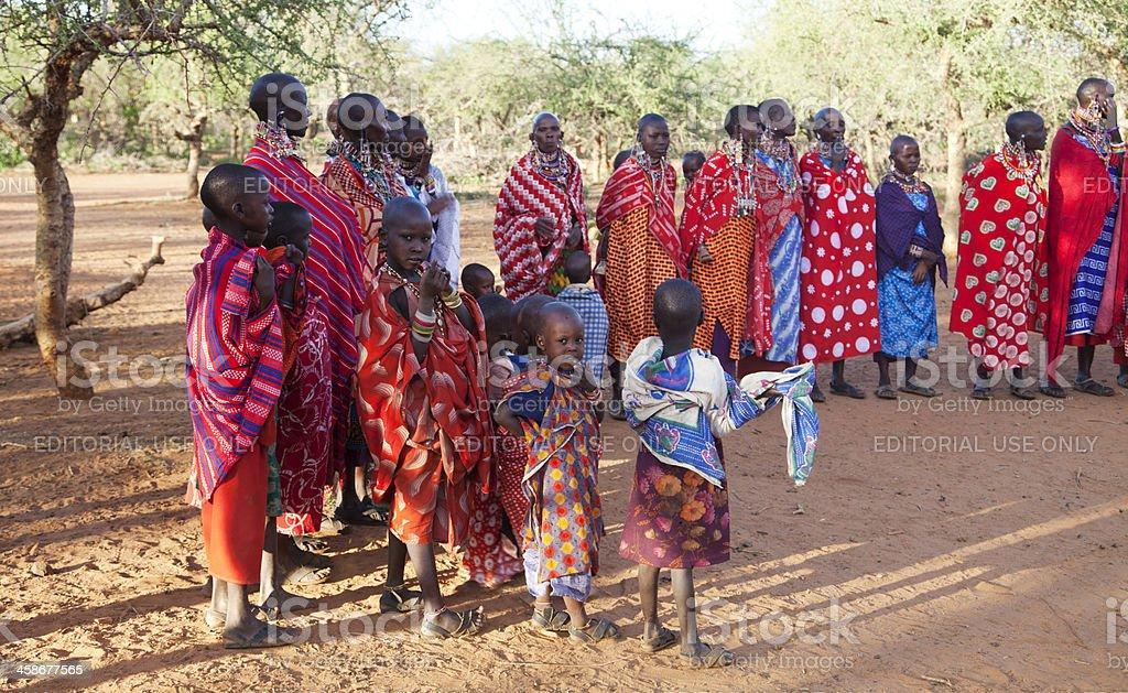 Maasai women and children stock photo