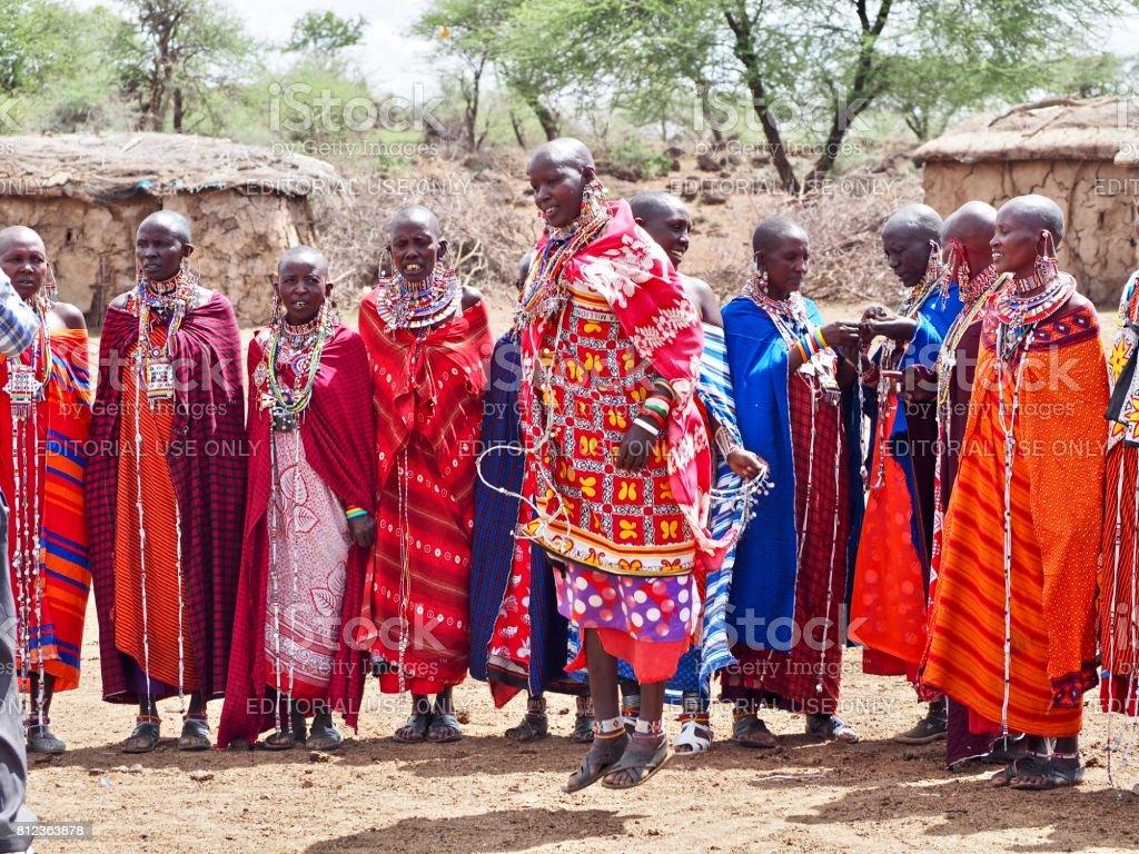 Maasai women singing and dancing in Amboseli, Kenya stock photo