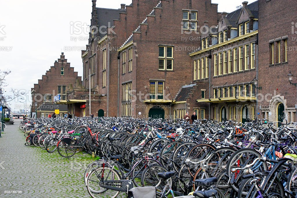 Maastricht, Netherlands - Bicycle parking stock photo