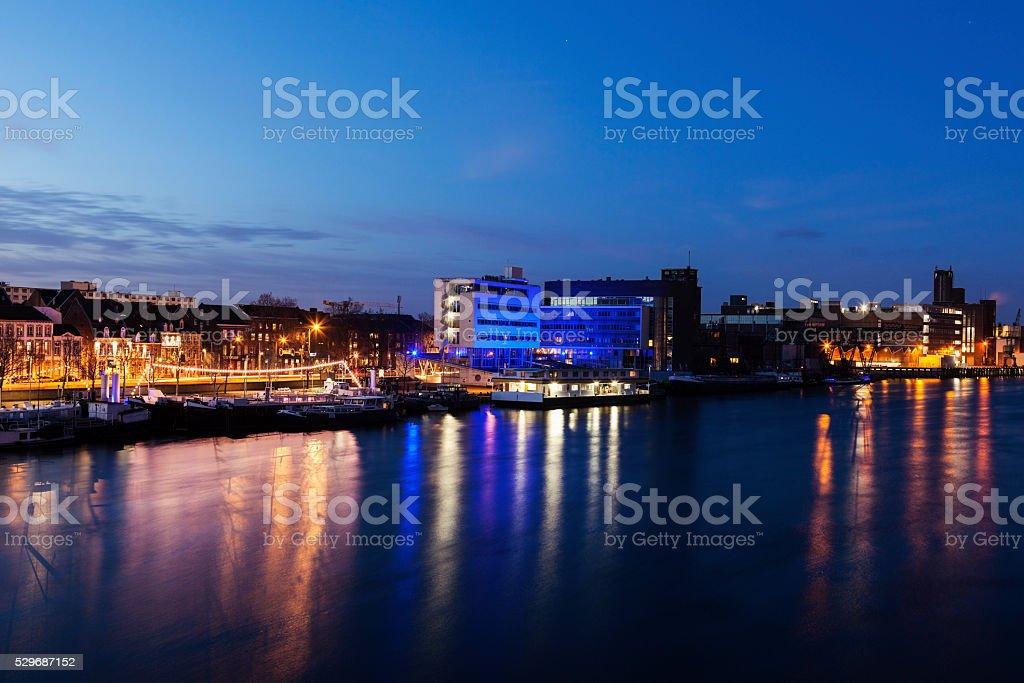 Maastricht panorama along Meuse River stock photo