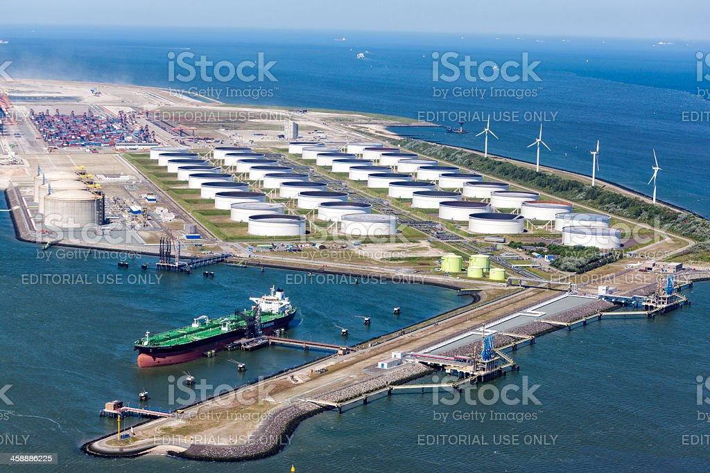 Maasvalkte Olie Terminal in Rotterdam stock photo
