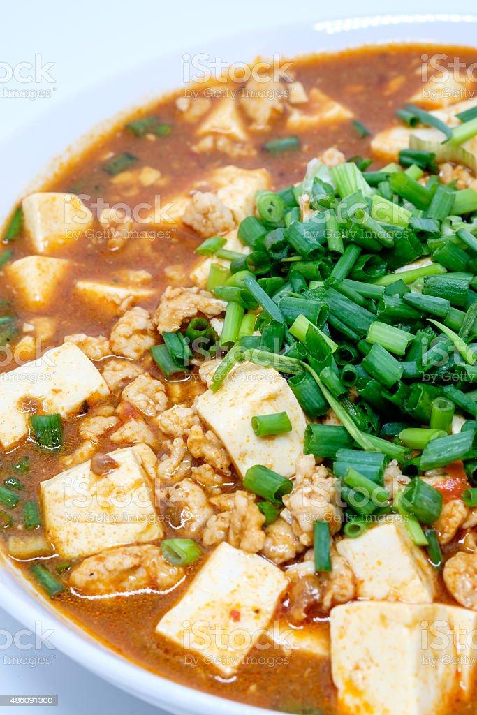 Mabo tofu or mapo doufu the Chinese dish stock photo
