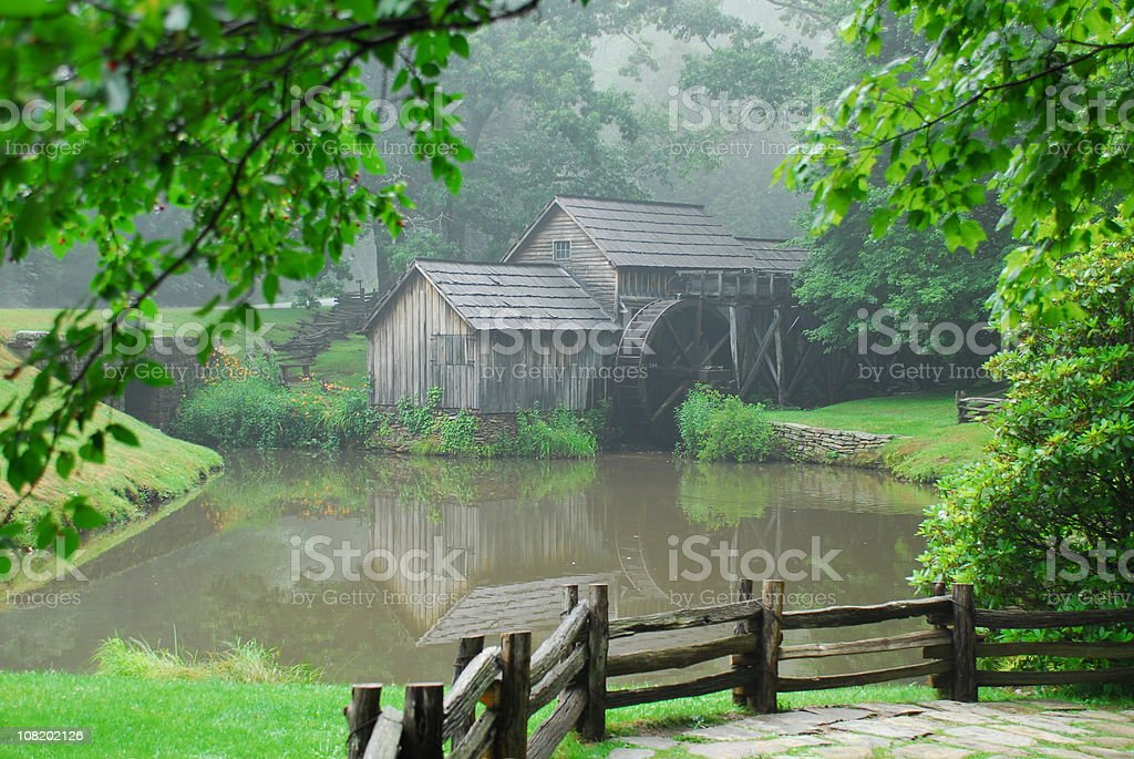 Mabry Mill on edge of pond stock photo