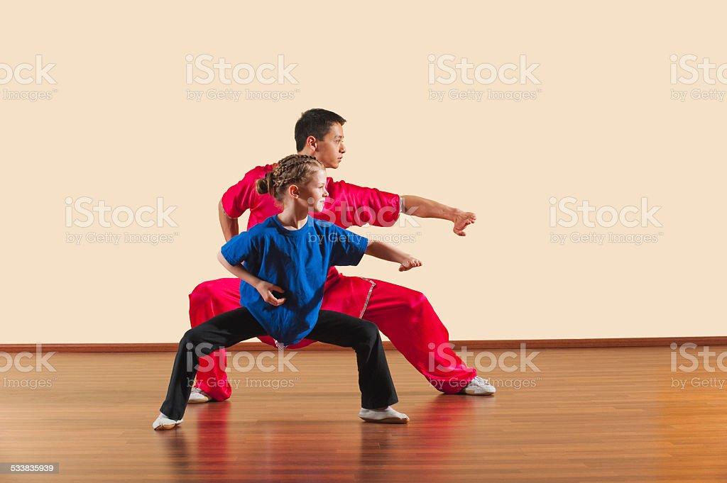 Mabu anzhang, Long Fist Style, Kung Fu instructor and girl stock photo