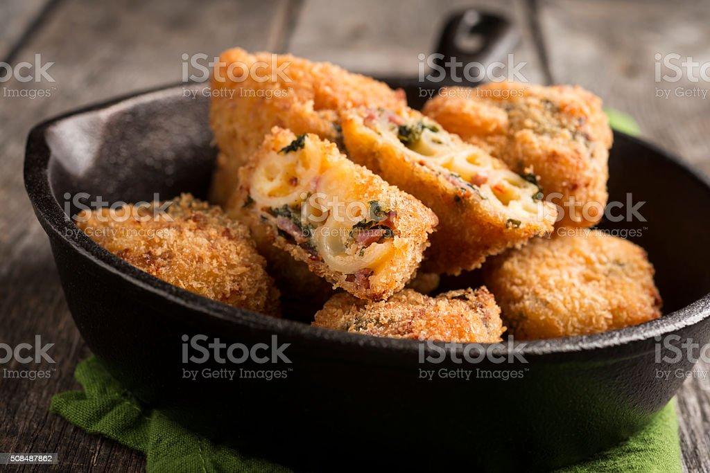 Mac and Cheese Bites stock photo