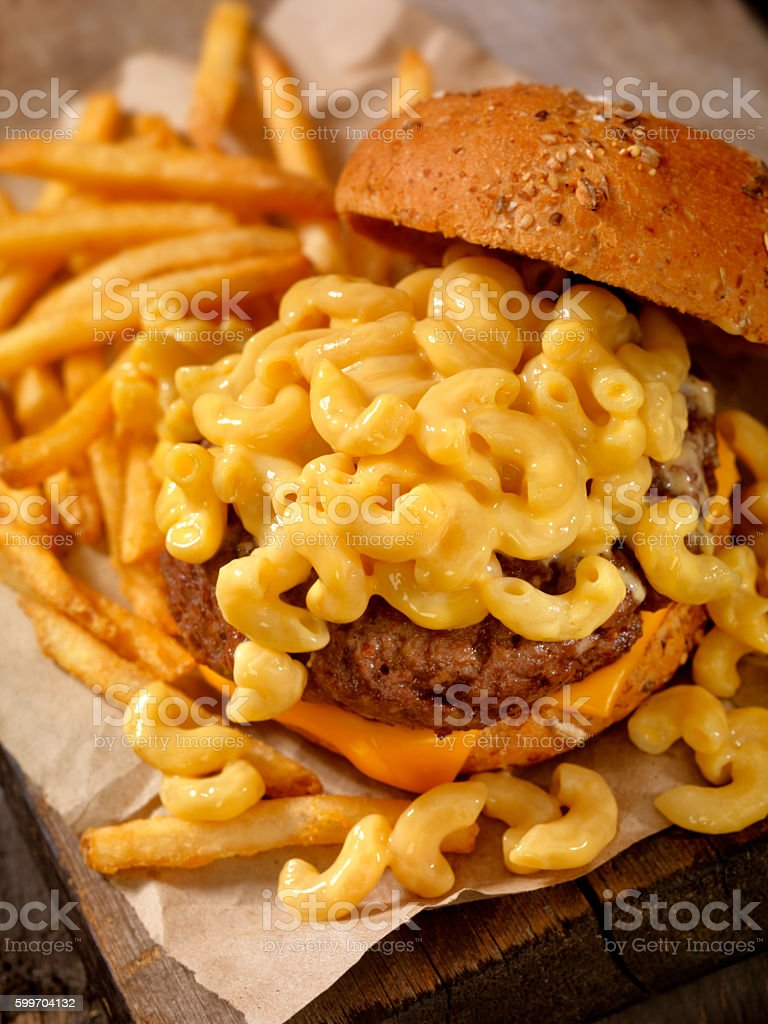Mac and Cheese Burger with French Fries stock photo