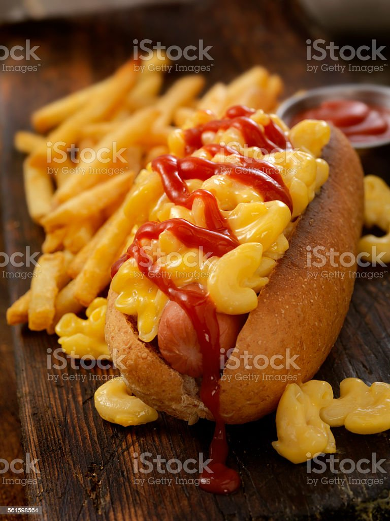 Mac and Cheese Dog With Fries and Ketchup stock photo