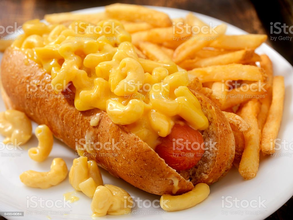 Mac and Cheese Dog with Fries stock photo