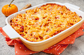 Mac and cheese with ham, pumpkin