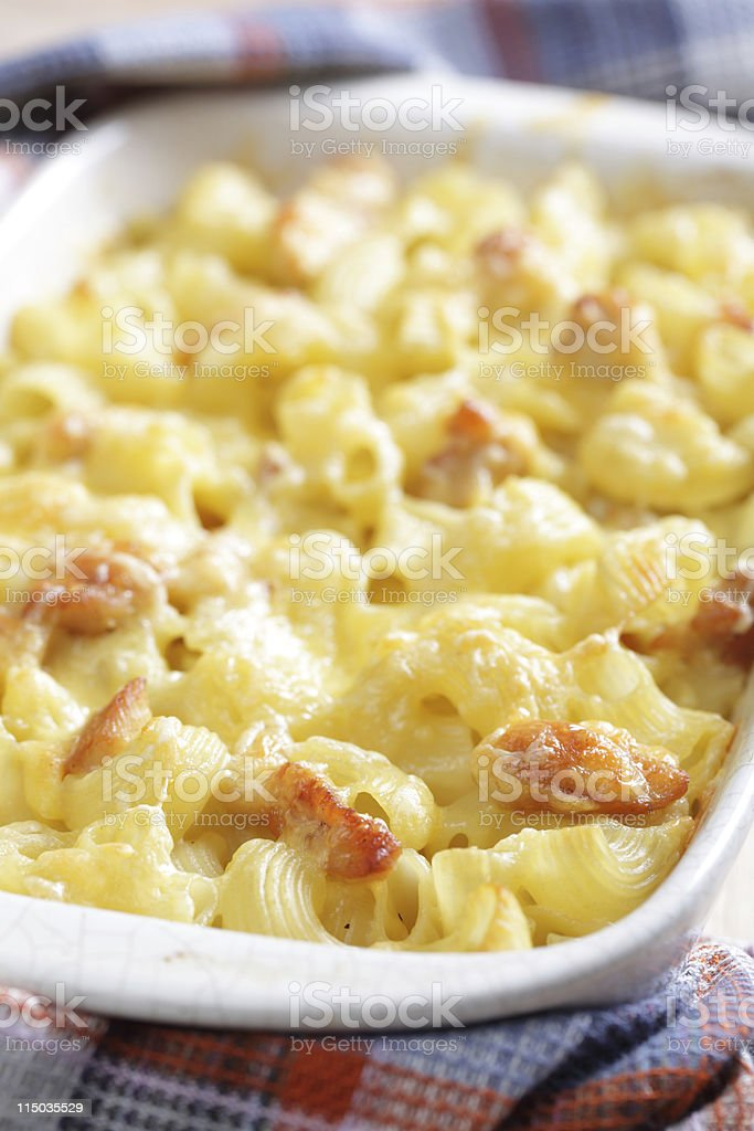 Mac cheese with chicken royalty-free stock photo