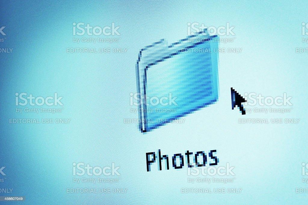 Mac Desktop Photos Folder Icon and Cursor stock photo