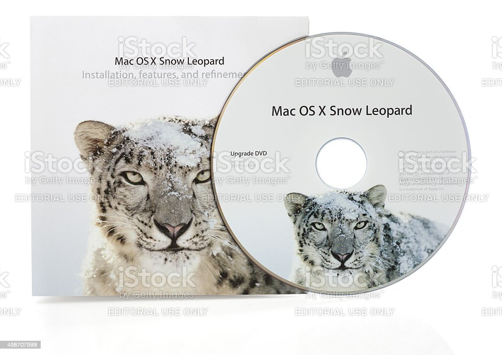 Mac OSX Snow Leopard Disc and Booklet stock photo