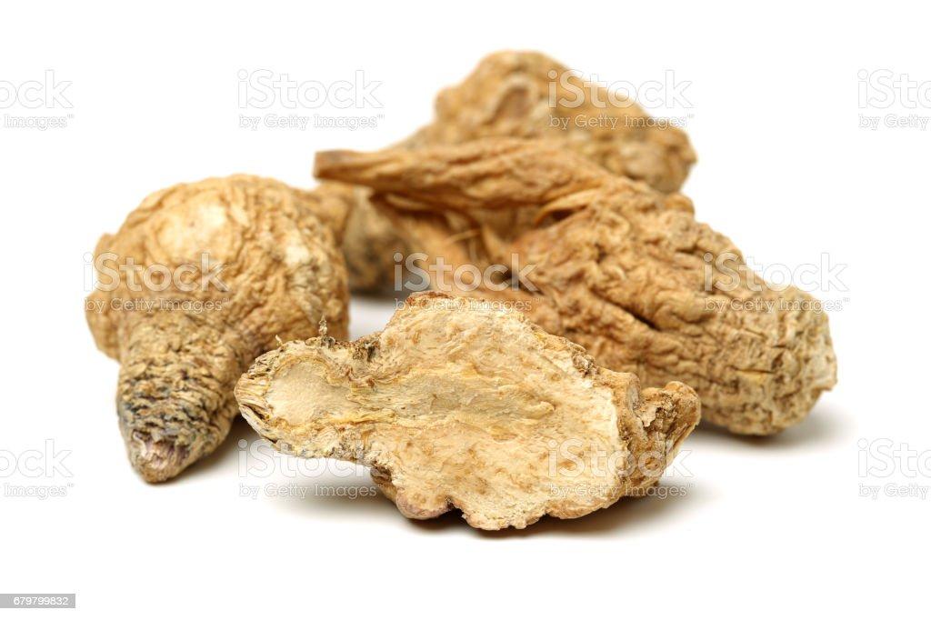 Maca (Lepidium meyenii) and quinoa (Chenopodium quinoa ), superf   Isolated  on white background stock photo