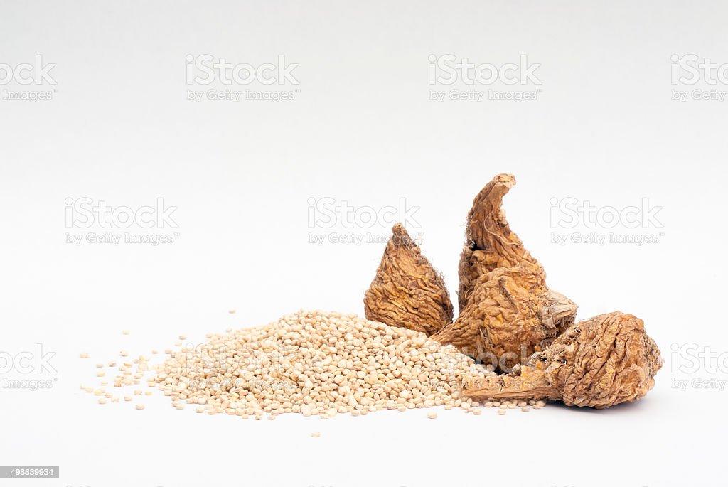 Maca (Lepidium meyenii) and quinoa (Chenopodium quinoa ), superf stock photo
