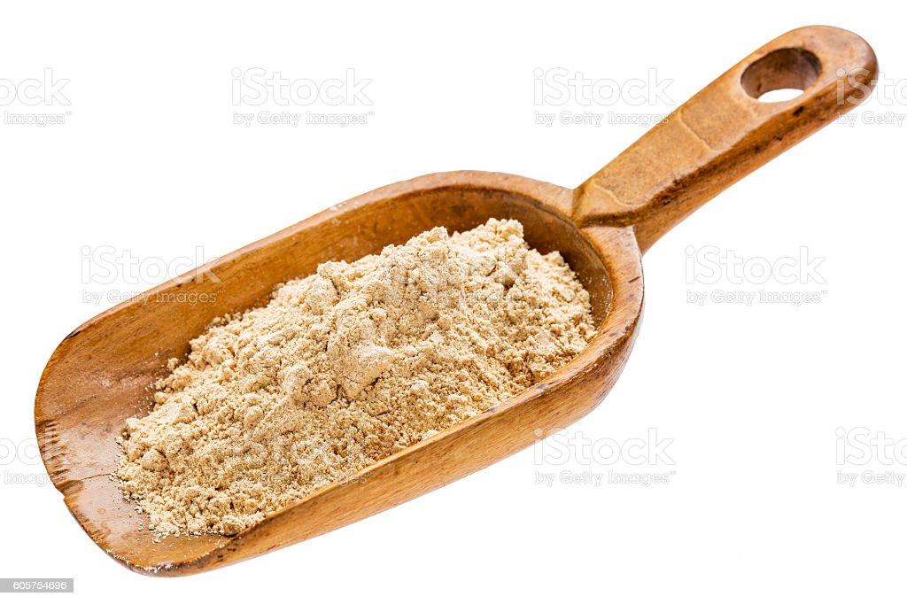 maca root powder supplement stock photo