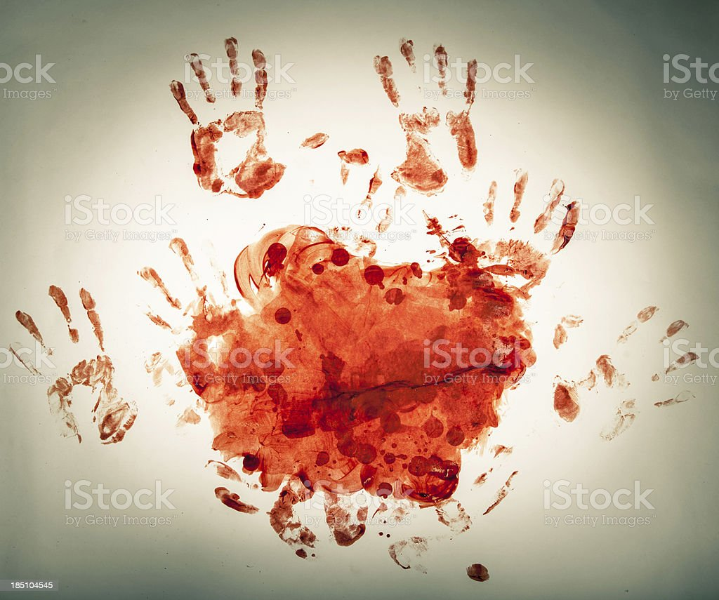 Macabre Blood Fingerpainting, Bloody Handprints, Spotlight stock photo