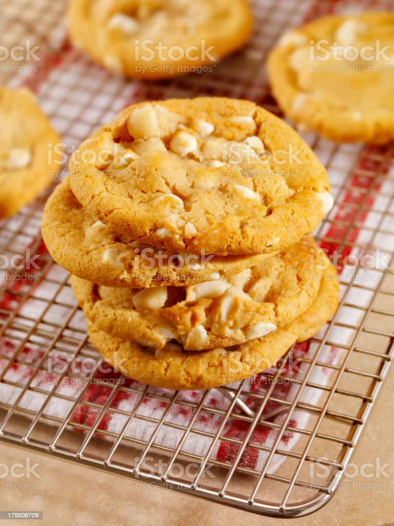 Macadamia Nut and White Chocolate Cookies royalty-free stock photo