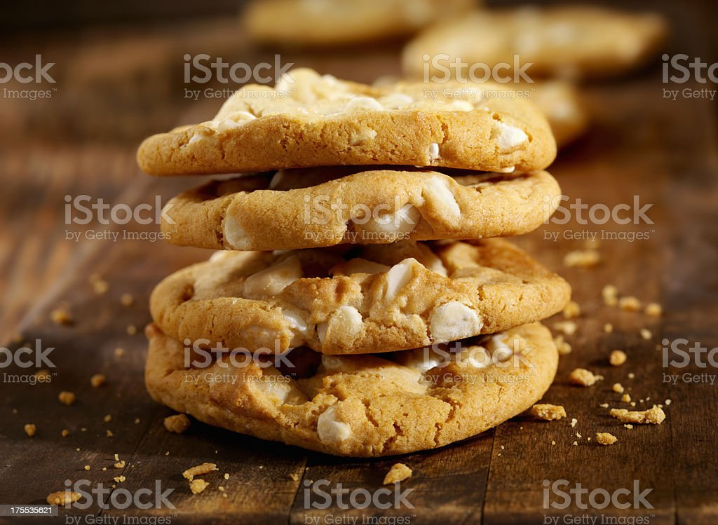Macadamia Nut and White Chocolate Cookies stock photo