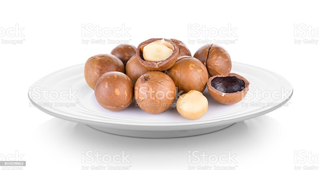 Macadamia nut in plate on white background stock photo