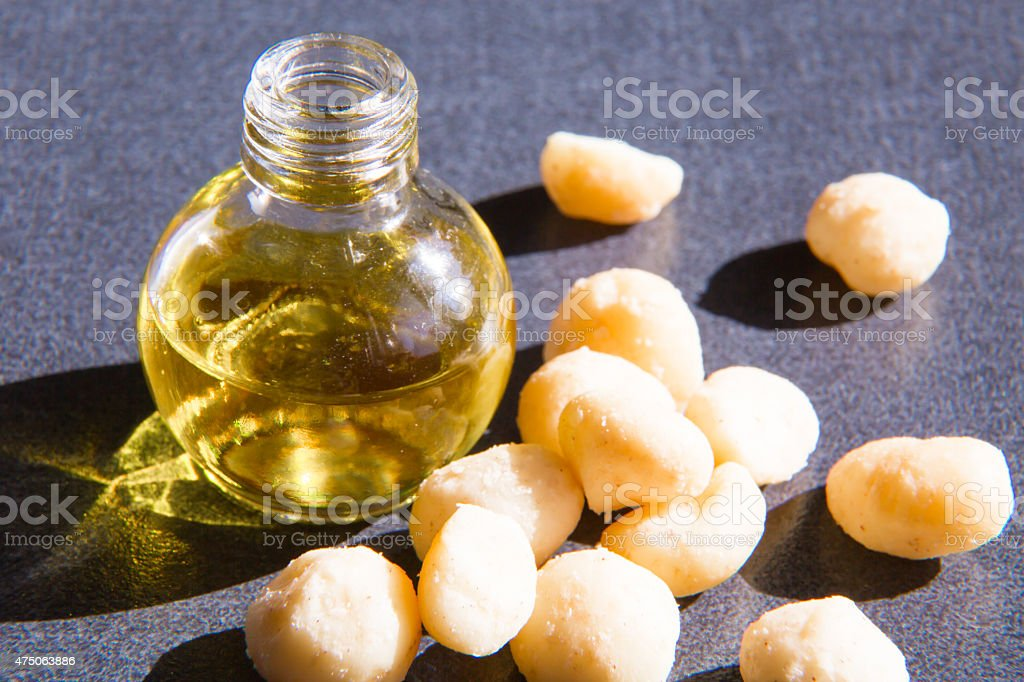 Macadamia oil in the bottle and nuts stock photo