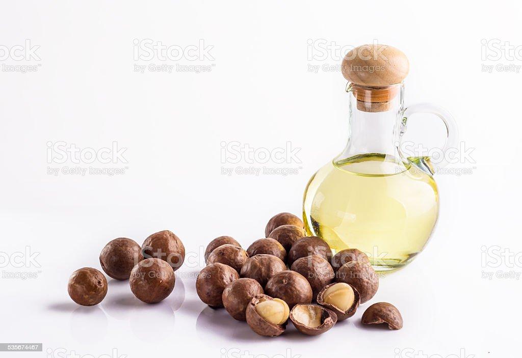 Macadamia oil stock photo