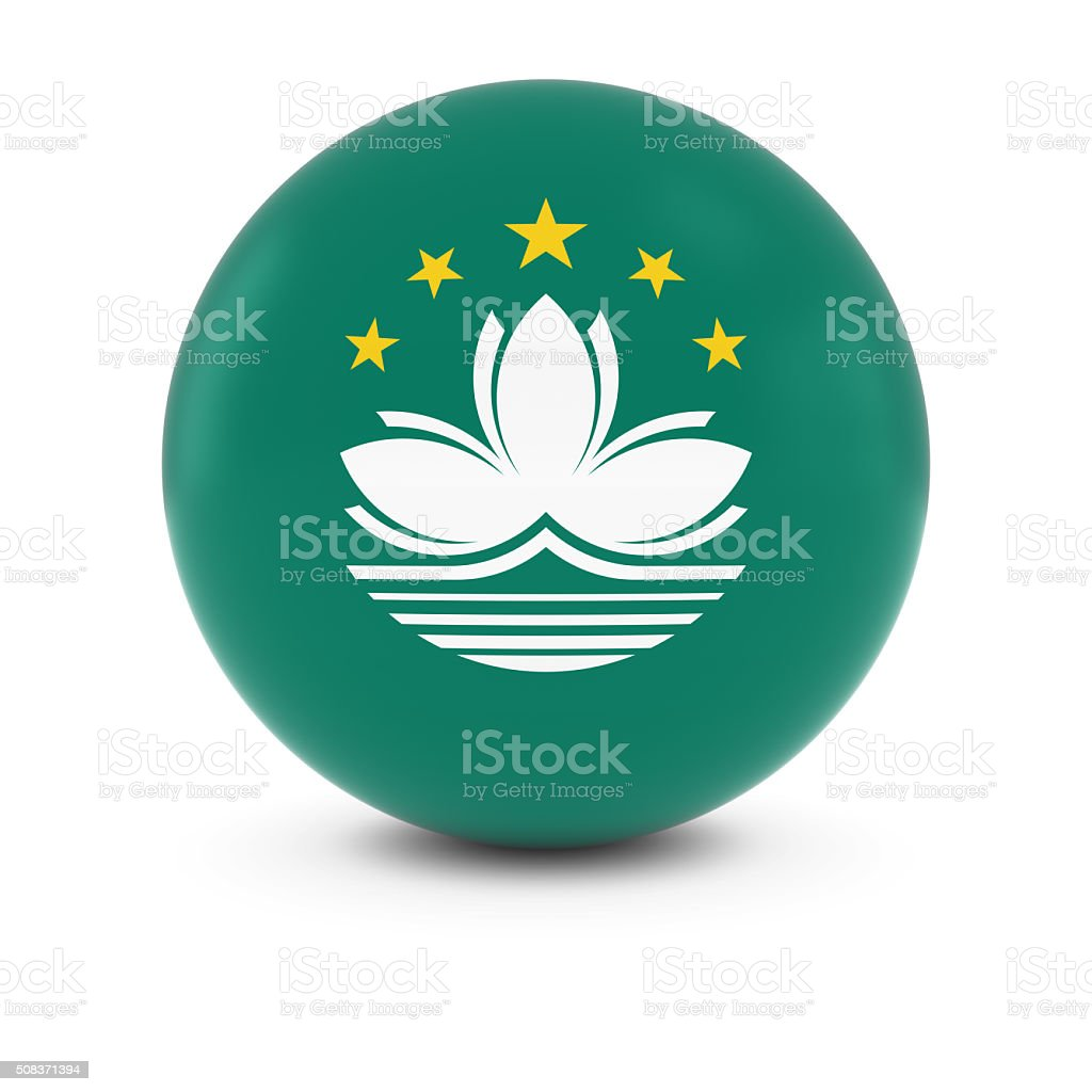 Macanese Flag Ball - Flag of Macau on Isolated Sphere stock photo