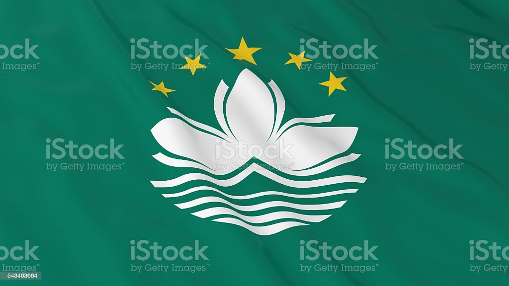 Macanese Flag HD Background - Flag of Macau 3D Illustration stock photo