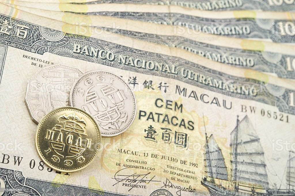 Macanese Pataca Banknotes and Coins royalty-free stock photo