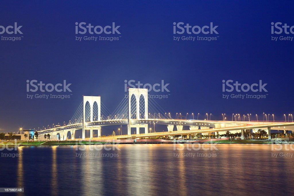 Macao Bridge at Dusk stock photo