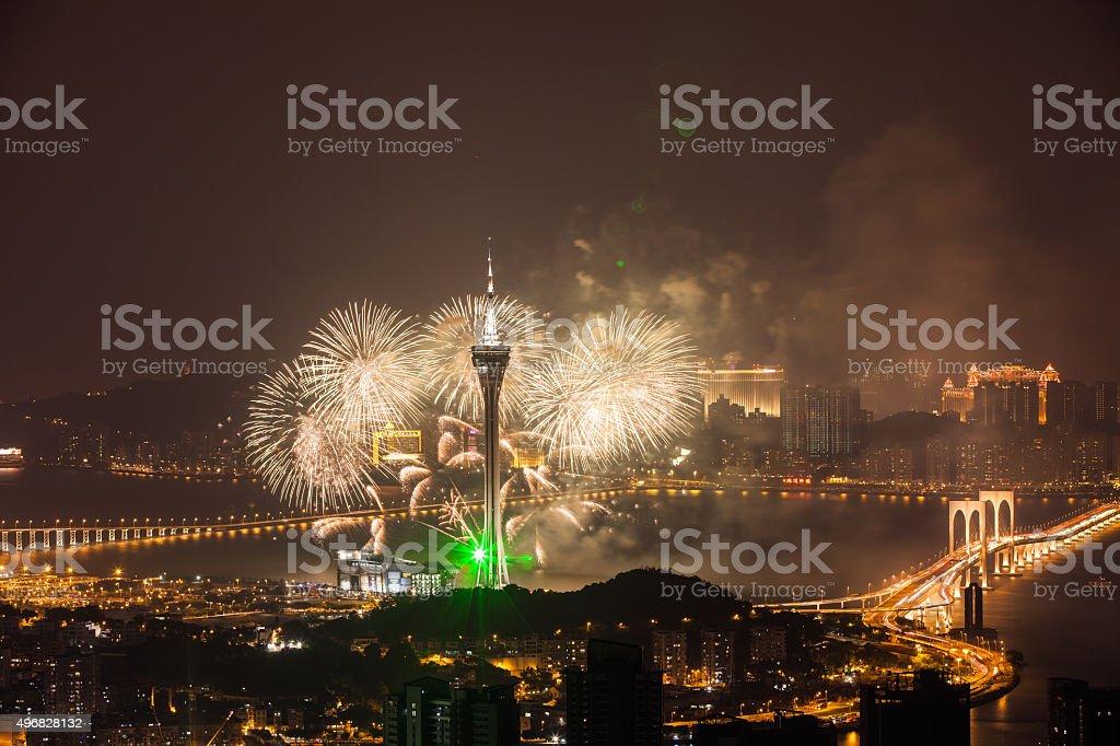 Macao Firework  Night stock photo