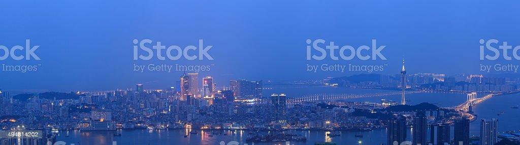 Macao Panorama Night stock photo