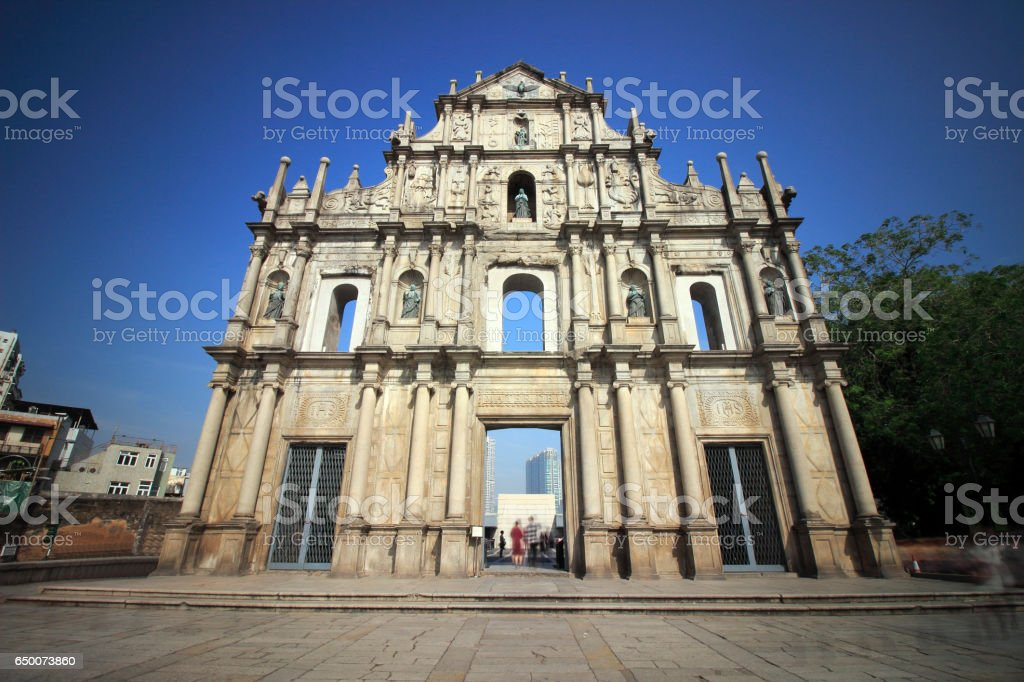 Macao ruins of St. Paul and blank floor stock photo
