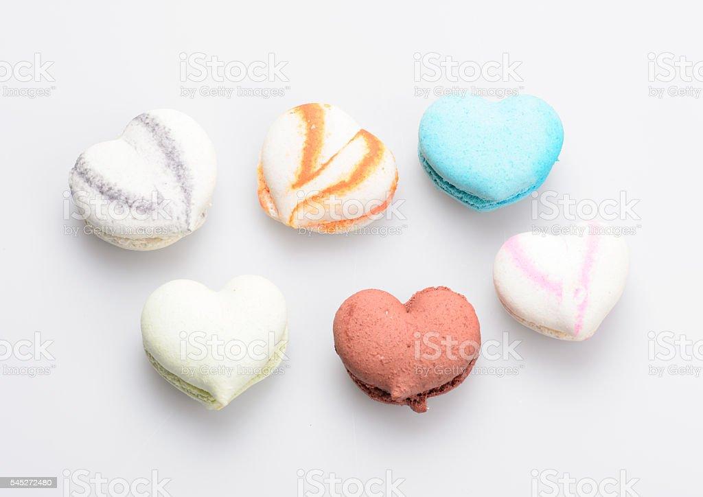 macaron in heart shape on white background stock photo
