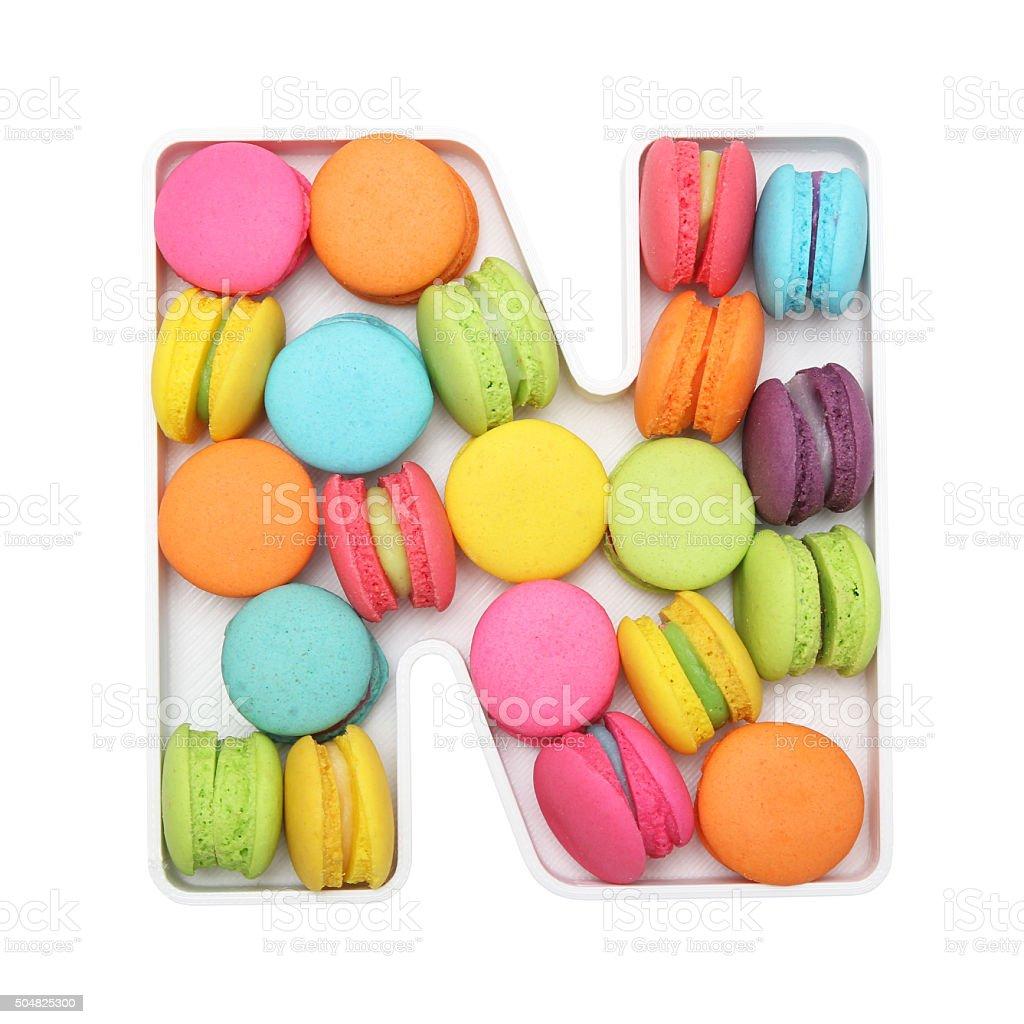 Macaron Letter N stock photo